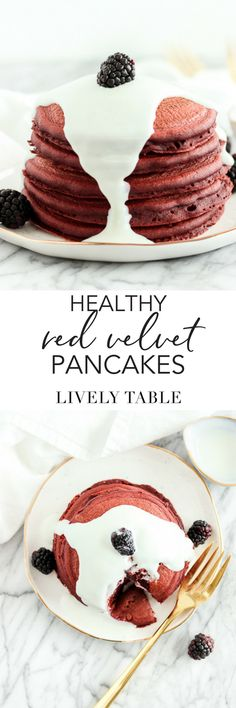 These healthy red velvet pancakes with a lightened up cream cheese glaze are a must make sweet breakfast this Valentine's Day! Includes natural coloring options. #pancakes #redvelvet #healthy #breakfast #valentinesday