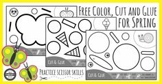 Practice scissor skills with this FREE three page, black and white, activity pack for children to color, cut and glue Spring pictures.