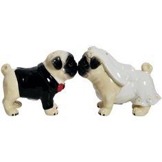 Westland Giftware Mwah Wedding Pugs Magnetic Ceramic Salt and Pepper Set, 3-Inch - http://spicegrinder.biz/westland-giftware-mwah-wedding-pugs-magnetic-ceramic-salt-and-pepper-set-3-inch/