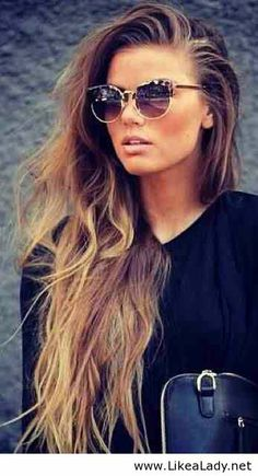 Long brown hair and sunglasses