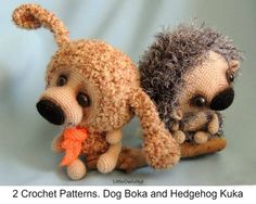 Dog Boka & Hadgehog Kuka crochet pattern by Pertseva for LittleOwlsHut.#LittleOwlsHut#crochet pattern#hedgehog# dog# Boka# amigurumi#Pertscrafts#DIY#crafts#toy#