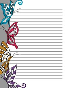 Free printable doodle butterfly stationery for x 11 paper. Available in JPG or PDF format and in lined and unlined versions. Printable Lined Paper, Free Printable Stationery, Journal Paper, Journal Cards, Coloring Books, Coloring Pages, Art Drawings For Kids, Notebook Paper, Stationery Paper