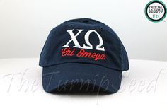 Hey, I found this really awesome Etsy listing at https://www.etsy.com/listing/180629528/chi-omega-sorority-baseball-cap-custom