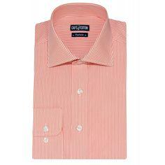 Chemise coupe cintrée à rayures orange - Café Coton #chemise #chemisehomme http://www.cafecoton.fr/nouveaux-cols/10999-chemise-coupe-cintree-a-rayures-orange.html