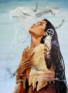 "Artwork by Linda ""Great Spirit, I am Mother."" as seen on: http://nativeamericanencyclopedia.com/great-spirit-mother-native-american-prayer/."