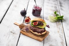 Burger with figs on a white board 2 by RalfMackert