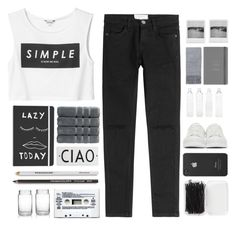 """""""Monochrome"""" by fashionlover2157 ❤ liked on Polyvore featuring Monki, Current/Elliott, Christy, Rosanna, Forever 21, Incase, Alexander McQueen, Seletti, M&S and Topshop"""