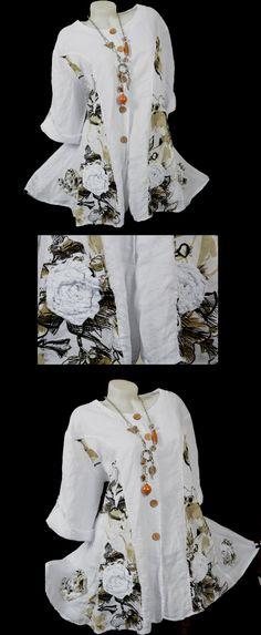 LEINEN SOMMER ZIPFEL JACKE TUNIKA BLUSE HEMD LAGENLOOK WEIß M L XL XXL 3XL | eBay
