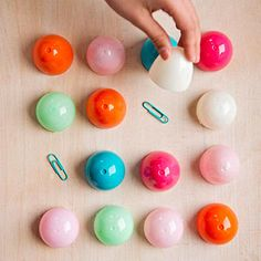 Plastic Easter Egg Ideas - Memory Match - Use egg halves to hide pairs of items, such as paper clips, coins, buttons, and beads.