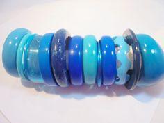 Vintage LUCITE Bangle Bracelet Serenity BLUE Lot of 13 Mother's Day Gift POP ART #Unbranded