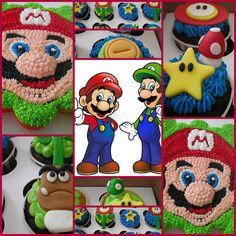 pastel de cupcakes y cupcakes individuales de Mario Bro. por roni