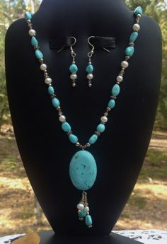 Turquoise necklace and matching earrings by ShadowMtnCraftworks, $78.00