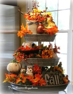 It is time for the Fall version of my galvanized tiered tray . A little Fall chalkboard in the bottom center. Thanksgiving Decorations, Seasonal Decor, Halloween Decorations, Holiday Decor, Fall Decorations, Thanksgiving Ideas, Tray Decor, Decoration Table, Galvanized Tiered Tray