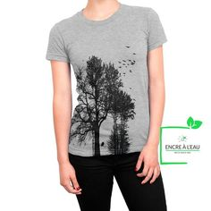 Forest woman t shirt water based ink print in Quebec Creation T Shirt, Quebec, Base, Ink, Quality Printing, T Shirts For Women, Disappointed, Impression, Screen Printing