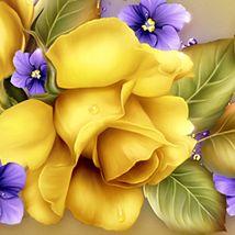 Moonbeam's Yellow Roses & Violets 3D Models 2D moonbeam1212