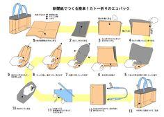 新聞紙入れ、取っ手付きバッグの作り方(作り方の文字修正) - 「カトー折り」ペーバークラフトで広げるエコ!