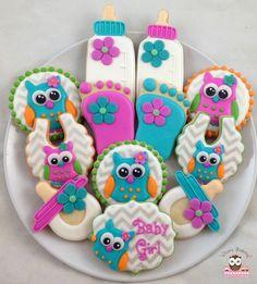 owl cookies, baby shower cookies, owl baby cookies, baby foot cookies, baby feet cookies, chevron cookies, bib cookies, baby bottle cookies, owl bib cookies