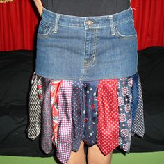 When your jean skirt gets too short for comfort... Denim and Silk Skirt, Recycled Jeans and Mens Neckties, Skirt Made From Ties, Short Jean Skirt, One of A Kind Womens Skirt Size 8. $40.00, via Etsy.