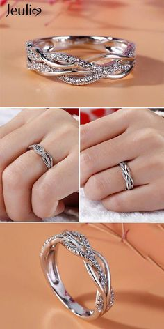 Special Offer For You: Off On Stunning Intertwined Sterling Silver Women's Band. Code: Breathtaking Band At Jeulia. Ideal Gift For Her. These Rings Deserve To Be On Your Wish List! Jeulia offers premium quality jewelry at affordable price, shop now! Rose Gold Diamond Ring, Diamond Wedding Bands, Diamond Engagement Rings, Diamond Studs, Ladies Silver Rings, Vintage Silver Rings, Wedding Rings For Women, Engagement Rings For Women, Ring Verlobung
