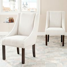 Shop for Safavieh En Vogue Dining Sloping Arm Beige Linen Nailhead Side Chairs (Set of 2). Get free shipping at Overstock.com - Your Online Furniture Outlet Store! Get 5% in rewards with Club O!