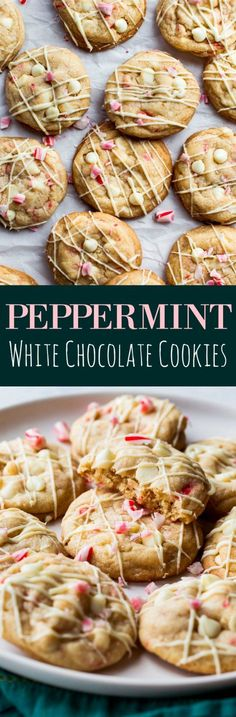 Soft and chewy peppermint cookies with white chocolate and candy canes!! Christmas cookie recipe on sallysbakingaddiction.com