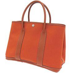 Auth-Hermes-Handbag-Tote-Bag-Garden-Party-PM-Orange-Brown-Stamp-J-GR-1689013