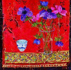 British Artist Sue FITZGERALD-Anemones and Embroidered Silk