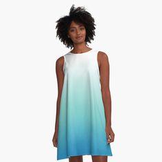 """Light Blue Ombre"" A-Line Dress by ind3finite   Redbubble Blue Dresses, Summer Dresses, Blue Ombre, Beautiful Sky, I Dress, Chiffon Tops, Designer Dresses, Classic T Shirts, Light Blue"