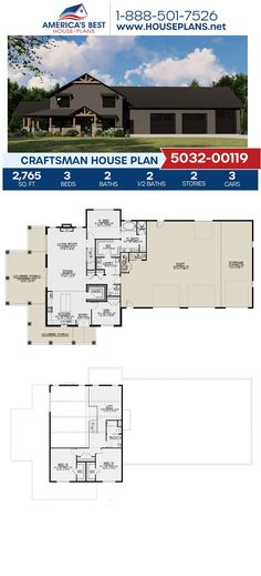 Introducing a Craftsman design that you're going to fall in love with. Plan 5032-00119 features 2,765 sq. ft., 3 bedrooms, 2 bathrooms, 2 half bathrooms, a wrap around porch, a loft and a workshop. Find more information about this plan on our website.
