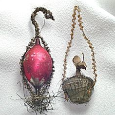 Victorian Wire Wrap Radish Flower Basket Christmas Ornaments