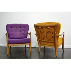 Pair of purple and yellow woolen chairs, GUILLERME & CHAMBRON - 1960s