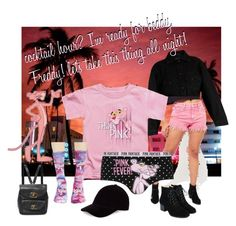 """""""pink panther strikes again"""" by caroline-buster-brown on Polyvore featuring South Beach, Yves Saint Laurent, Miss Selfridge, George, HUF, Le Amonie and Pink"""