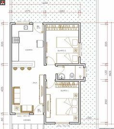 Casa 2 Quartos - 52.5m² 2 Bedroom House Plans, Small House Plans, House Floor Plans, Small Apartment Design, Small House Design, Small Apartments, Plan Hotel, Indian House Plans, Duplex House
