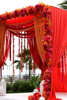 Red Mandap, could also function as a Chuppah for Multicultural Wedding! Wedding Arch Flowers, Wedding Mandap, Wedding Stage, Purple Wedding, Wedding Bride, Wedding Ideas, Wedding Bouquets, Indian Wedding Flowers, Wedding Draping