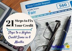 21 steps to fix your #credit score fast! Increasing your credit score is not an overnight process but you can boost your's using these simple steps. Learn how to review your credit report and remove bad marks against your score.