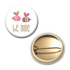 Badge 25 mm - Abeilles Be Mine Saint Valentin : Pins, badges par miss-kawaii