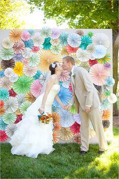 pin wheel ceremony backdrop at wedding by Kennedy Occasions #weddingceremony #diy #weddingchicks http://bit.ly/1eWF33G