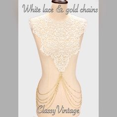 White crocheted lace and gold tone chains necklace Stunning white crocheted necklace with draping gold tone draping chains.Arrives Tuesday Boutique Jewelry Necklaces