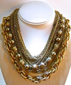Multi 22 Strand Chain Necklace and Crown Trifari Earrings Set, Gold Tone, Vintage Chain