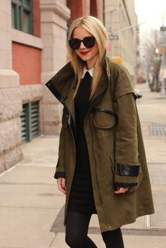 Jacket: Cynthia Steffe (old). Dress: Alice + Olivia. Boots: Rag and Bone. Tights: Club Monaco. Lips: MAC Ruby Woo. Sunglasses: Karen Walker 'Super Duper'. Nails: Chanel 'Peridot'.