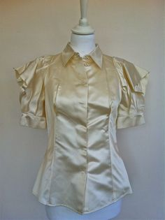 Prada Duchesse Satin Cream Top Size 36 via The Queen Bee. Click on the image to see more!