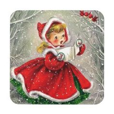 1950s Vintage Christmas Girl In Dress Drink Coaster - red gifts color style cyo diy personalize unique