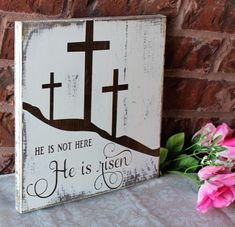 He is Risen Easter Decoration Easter Sign Wood Sign Easter Decor Christian Easter he is Risen Wood Sign Easter Wall Art - Best Seller List Easter Projects, Easter Crafts For Kids, Crafts To Do, Wood Crafts, Bunny Crafts, Easter Jesus Crafts, Decor Crafts, Unicorn Crafts, Easter Stuff