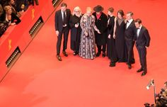 "(From L) German actor and jury member Lars Eidinger, French photographer and jury member Brigitte Lacombe, US actress and jury president Meryl Streep, Dieter Kosslick, Italian actress and jury member Alba Rohrwacher, Polish film maker and jury member Malgorzata Szumowska and British film critic and jury member Nick James pose for photographers on the red carpet for the film ""Hail, Caesar!"" screening as opening film of the 66th Berlinale Film Festival in Berlin on February 11, 2016. .Eighteen…"