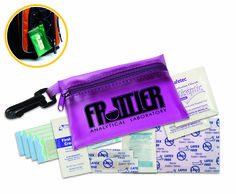 """Colorful, translucent vinyl pouch with clip includes 4 latex-free vinyl bandages, 2 snip bandages, 2 antiseptic towelettes, 2"""" x 3"""" adhesive pad, first aid cream packet, and 200 mg ibuprofen packet."""