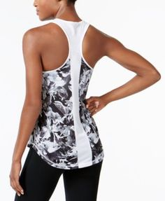 Ideology Printed Racerback Tank Top, Only at Macy's - Pink XXL