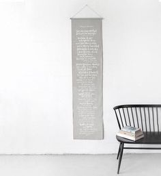 Hand screen printed wall banner | white typography on french grey dyed linen. Banner size: 450mm x 1800mm. Presented with dowel …
