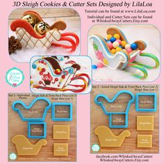This wonderful cutter set to make a sleigh was designed by Georganne, the renowned cookie decorator known as LilaLoa and we are happy to Christmas Gingerbread, Christmas Treats, Christmas Baking, Gingerbread Cookies, Christmas Cookies, Gingerbread Houses, Gingerbread Recipes, Shapes And Curves, Cookie Cutter Set
