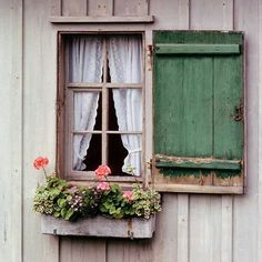 Sweet farmhouse window inspiration with shutters and window box w/geraniums and other flowers Old Windows, Windows And Doors, Rustic Windows, Garage Windows, Green Shutters, Rustic Shutters, Cottage Windows, Window View, Through The Window