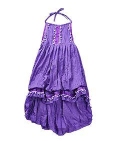 Look what I found on #zulily! Purple Pom-Pom Halter Dress - Girls #zulilyfinds